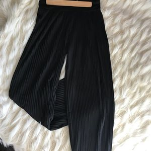 Pants - Pleated black silk wide leg pants